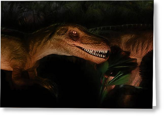 Velociraptor Greeting Card by Lori Deiter