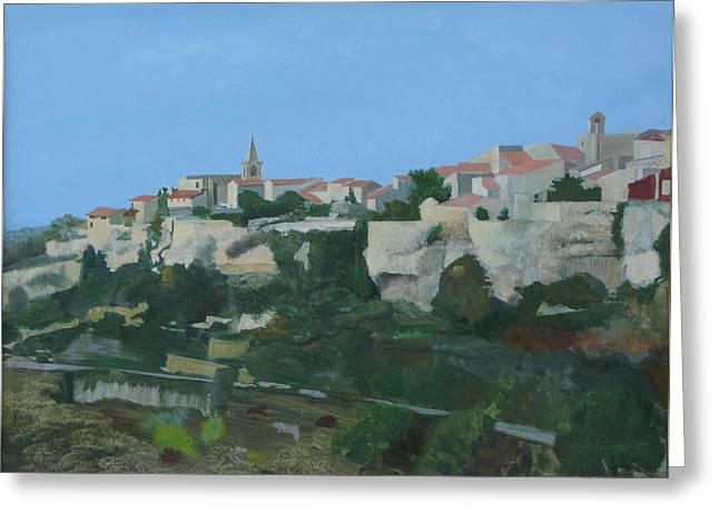 Provence Village Greeting Cards - Venasque Greeting Card by LJ Powers
