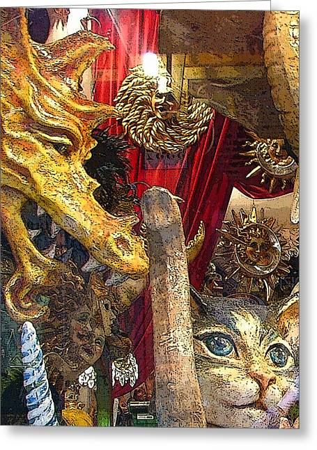 Venetian Animal Masks Greeting Card by Mindy Newman