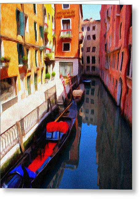 Venetian Canal Greeting Card by Jeff Kolker