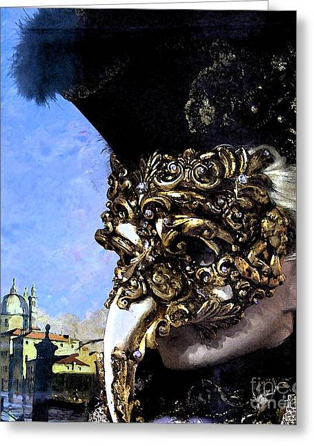 Gold Jewelry Greeting Cards - Venetian Carnival Greeting Card by Mindy Newman