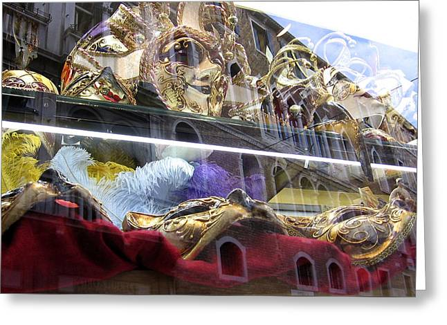 Venetian Carnival Reflections Greeting Card