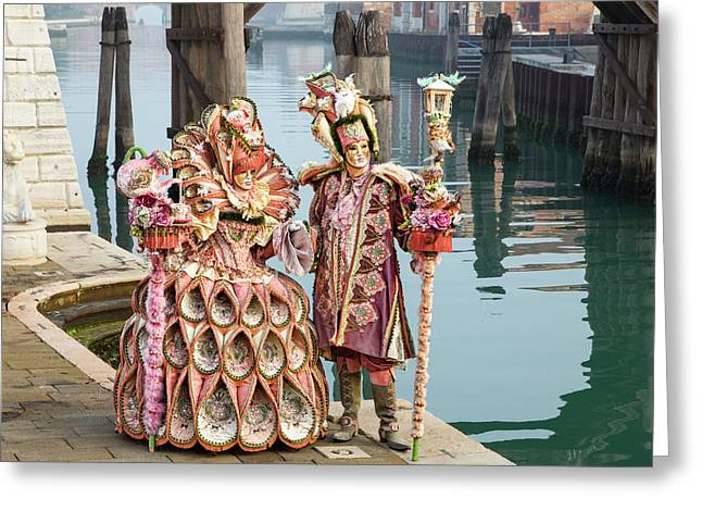 Venetian Couple Along The Canal Greeting Card