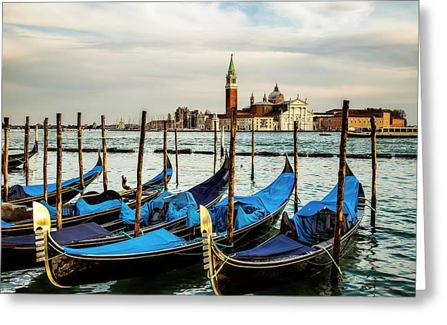 Venetian Gondolas Greeting Card by Andrew Soundarajan