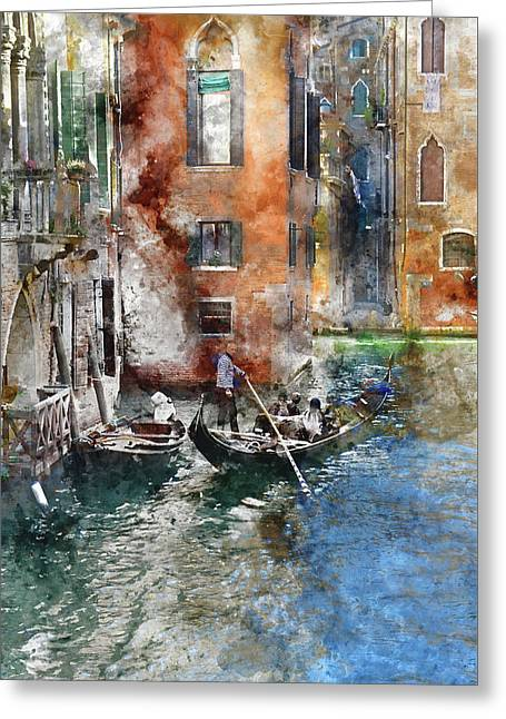 Venetian Gondolier In Venice Italy Greeting Card by Brandon Bourdages