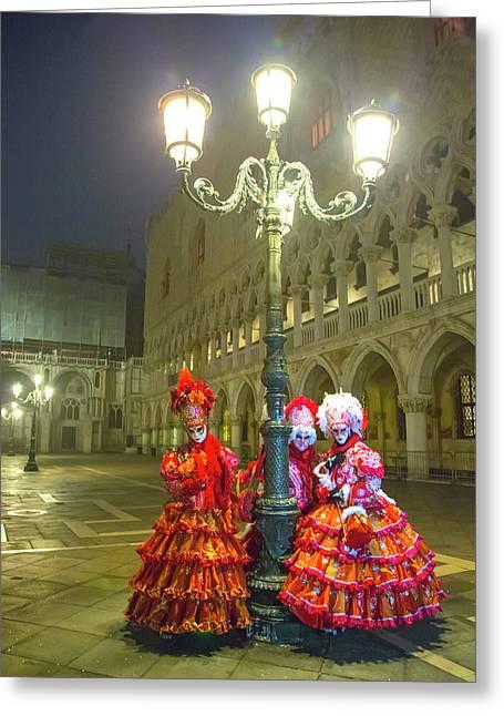 Venetian Ladies In San Marcos Square Greeting Card