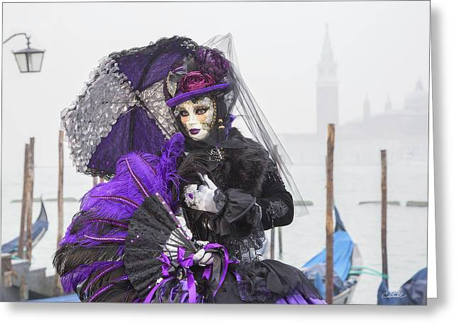 Venetian Lady In Purple Greeting Card