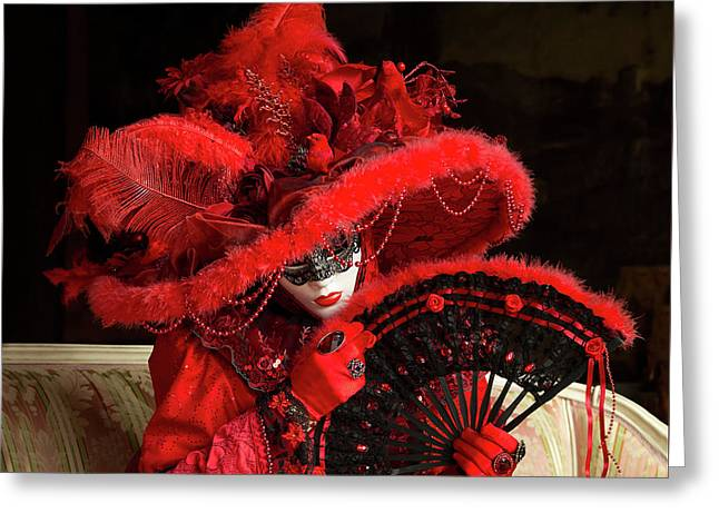 Venetian Lady In Red I  Greeting Card
