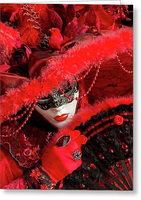 Venetian Lady In Red II  Greeting Card