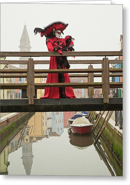 Venetian Lady On Bridge In Burano Greeting Card