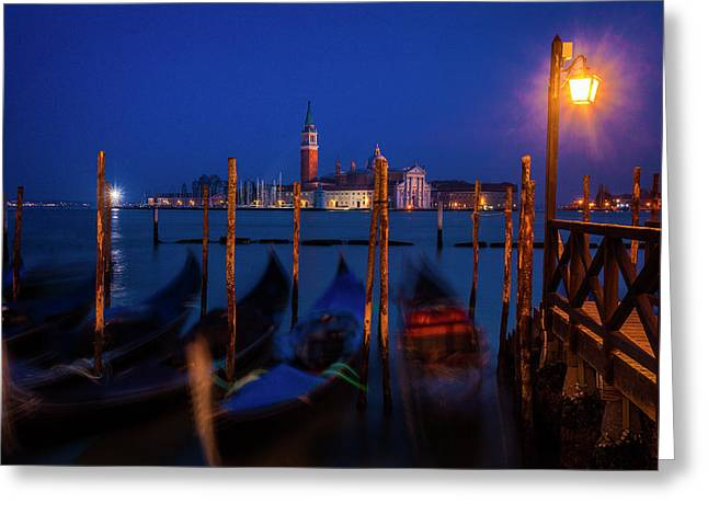 Greeting Card featuring the photograph Venetian Lagoon At Twilight by Andrew Soundarajan