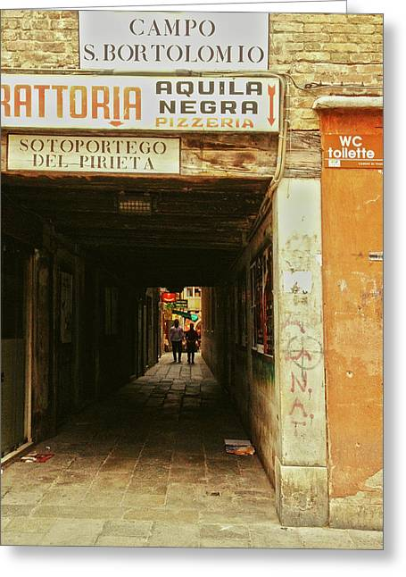 Greeting Card featuring the photograph Venetian Passage by Anne Kotan