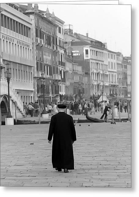 Venetian Priest And Gondola Greeting Card by KG Thienemann