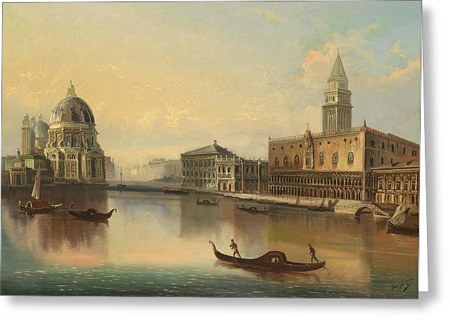 Venetian Scene With View Of Santa Maria Della Salute Greeting Card by Celestial Images
