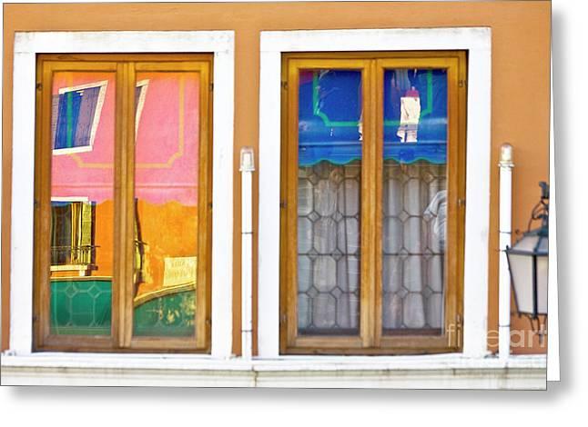 Venetian Window Reflections Greeting Card by Heiko Koehrer-Wagner
