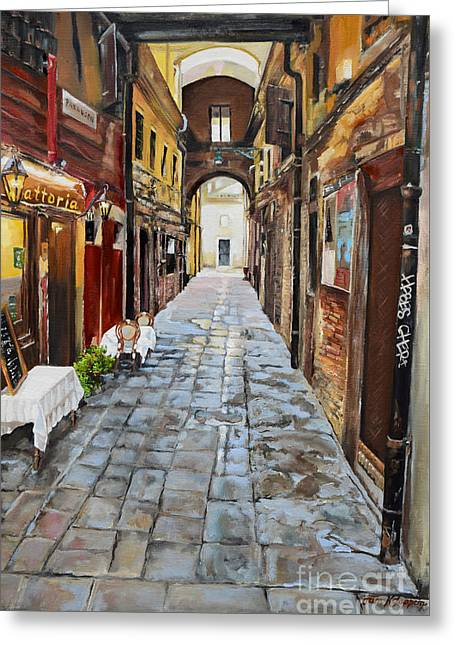 Greeting Card featuring the painting Venezia - Alley On Parangon In Venice by Jan Dappen
