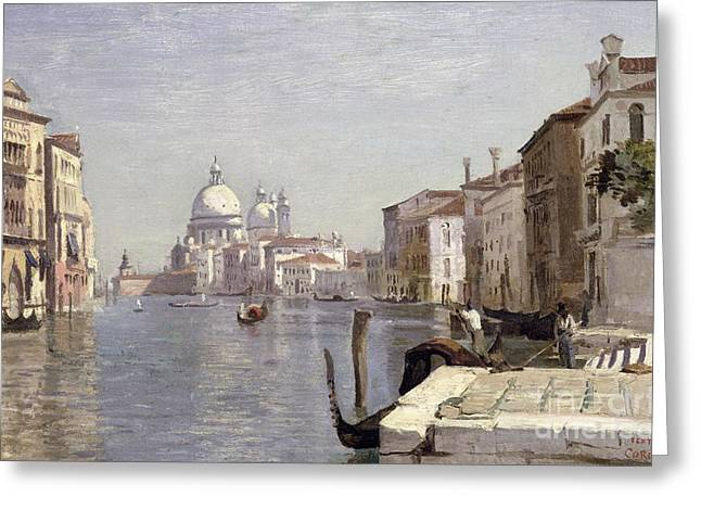Waterways Greeting Cards - Venice - View of Campo della Carita looking towards the Dome of the Salute Greeting Card by Jean Baptiste Camille Corot
