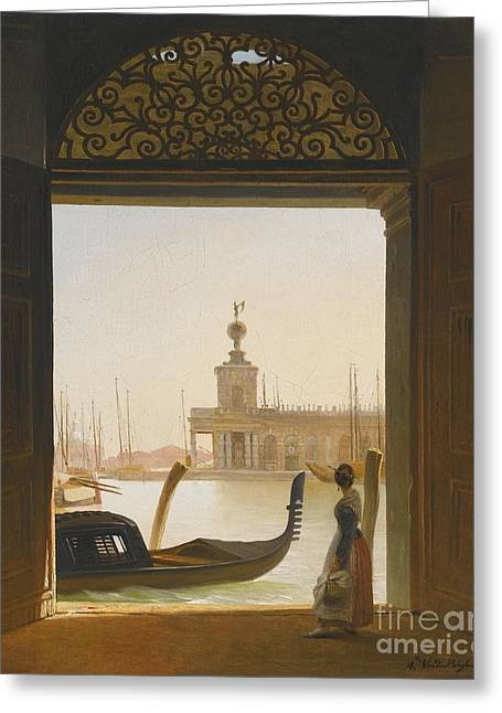 Venice A View Of The Dogana Greeting Card