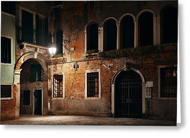Greeting Card featuring the photograph Venice Alley At Night by Songquan Deng