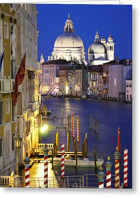 Venice At Night Greeting Card by Dan Breckwoldt