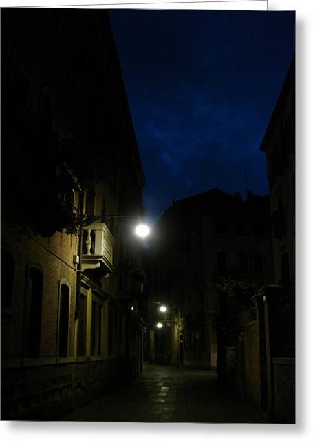 Venice At Night Greeting Card by Jennifer Kelly