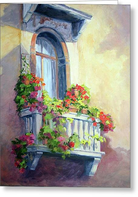 Greeting Card featuring the painting Venice Balcony by Vikki Bouffard