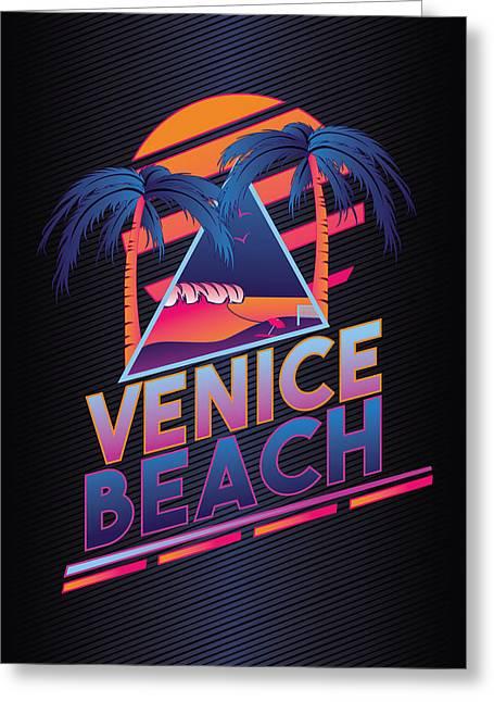 Venice Beach 80's Style Greeting Card by Alek Cummings