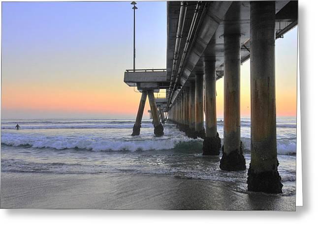 Venice Beach Pier Sunset Greeting Card