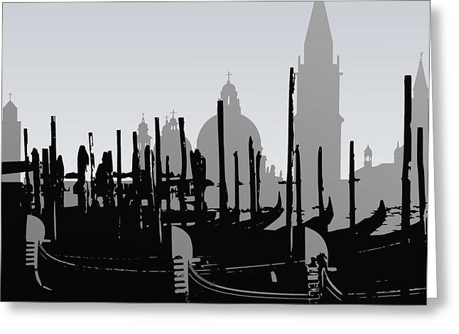 Venice Black And White Greeting Card