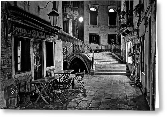 Venice Black And White Night Greeting Card by Frozen in Time Fine Art Photography