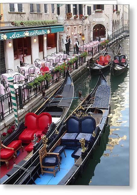 Venice Boats Greeting Card by Nina Simeonova