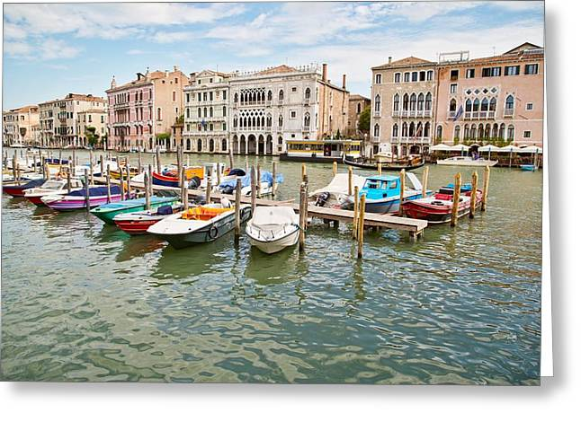 Greeting Card featuring the photograph Venice Boats by Sharon Jones