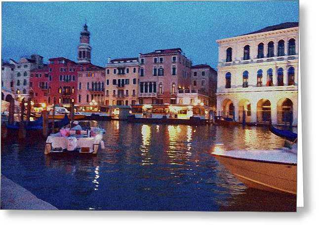 Greeting Card featuring the photograph Venice By Night by Anne Kotan