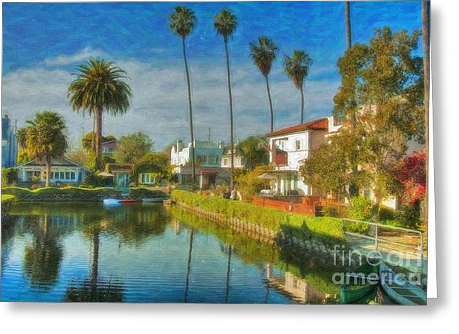 Venice Canal Houses Watercolor  Greeting Card by David Zanzinger