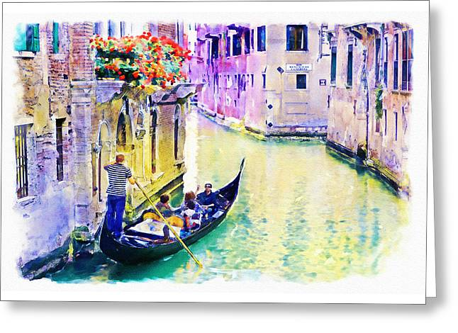Venice Canal Greeting Card by Marian Voicu