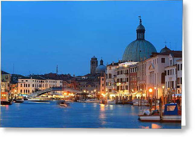 Greeting Card featuring the photograph Venice Canal Night Panorama by Songquan Deng
