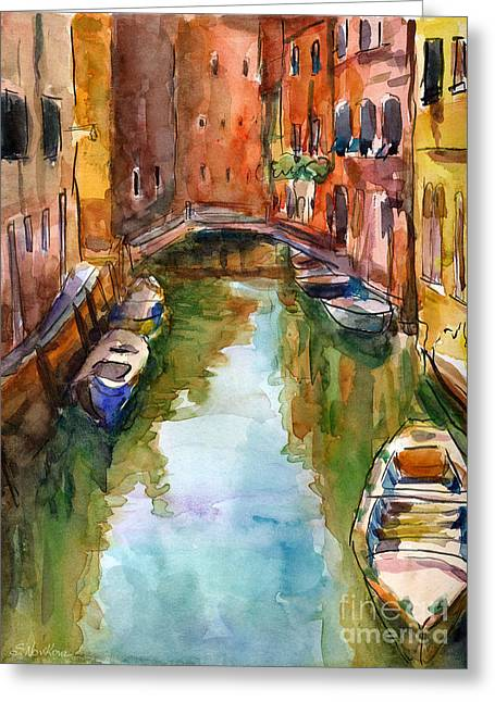Cityscape Drawings Greeting Cards - Venice Canal painting Greeting Card by Svetlana Novikova