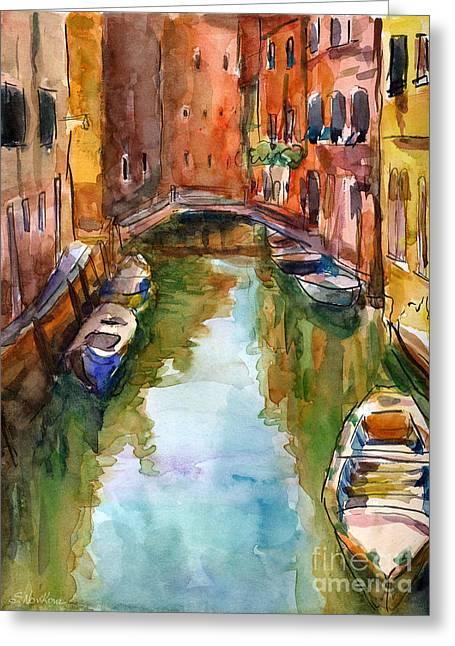 Canal Drawings Greeting Cards - Venice Canal painting Greeting Card by Svetlana Novikova