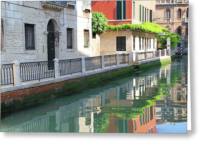 Dorsoduro Greeting Cards - Venice Canal Reflection 3 Greeting Card by Vicki Hone Smith