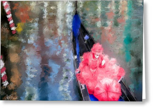 Venice Carnival. Masked Woman In A Gondola Greeting Card