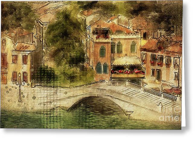 Venice City Of Bridges Greeting Card by Lois Bryan