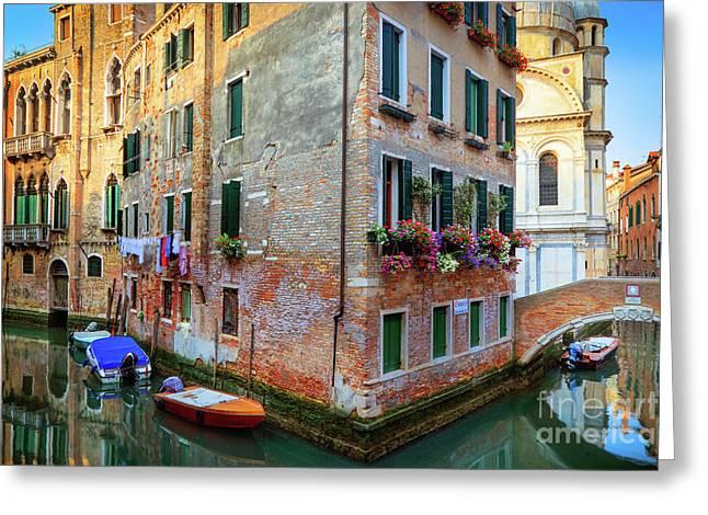 Venice Corner House Greeting Card by Inge Johnsson