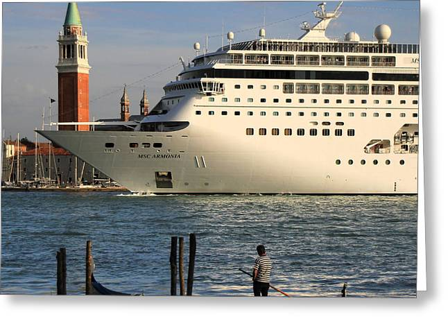 Venice Cruise Ship 2 Greeting Card by Andrew Fare