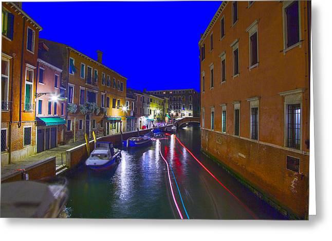 Venice  Dorsoduro By Night Greeting Card by Jean-luc Bohin