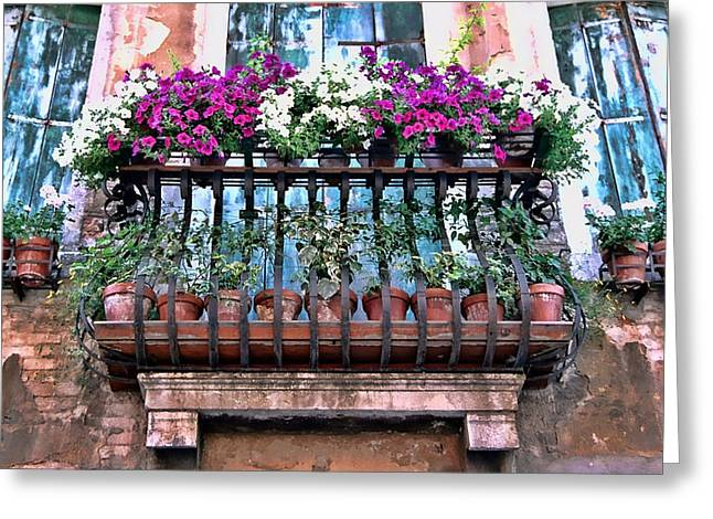 Greeting Card featuring the photograph Venice Flower Balcony by Allen Beatty