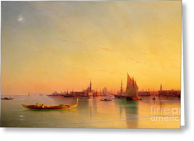 Sailboat Ocean Greeting Cards - Venice from the Lagoon at Sunset Greeting Card by Ivan Konstantinovich Aivazovsky