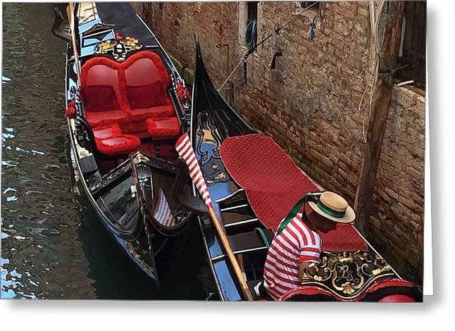 Venice Gondolas Greeting Card by Betsy Moran