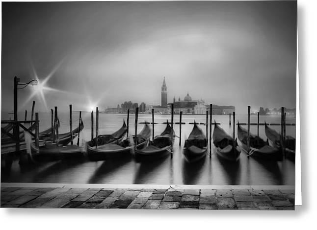 Venice Gondolas On A Foggy Morning Monochrome Greeting Card by Melanie Viola