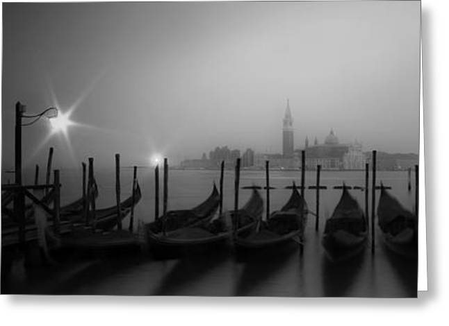 Venice Gondolas On A Foggy Morning Panoramic View Greeting Card