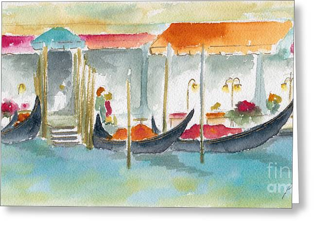 Pause Greeting Cards - Venice Gondolas Greeting Card by Pat Katz
